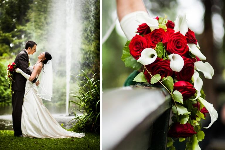 Brautstrauss und Brautpaar beim Foto-Shooting vor einem Springbrunnen in München vom Fotograf Martin Fröhlich