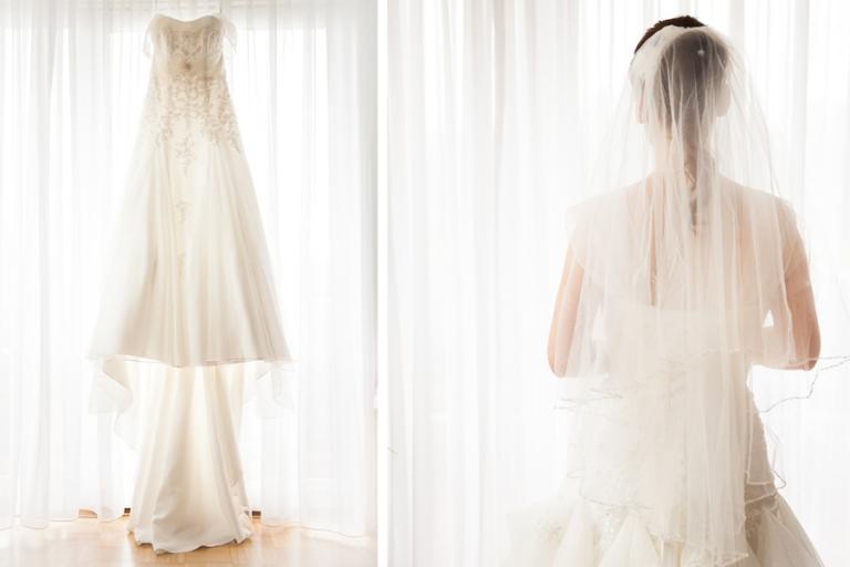 wunderschöne Aufnahmen des weißen Brautkleids und der Braut beim Engagement Fotoshooting