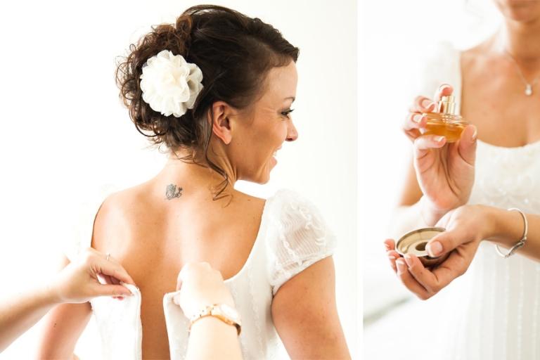 Beim anziehen des Brautkleids gibt es spannende Momente die man fotografieren kann