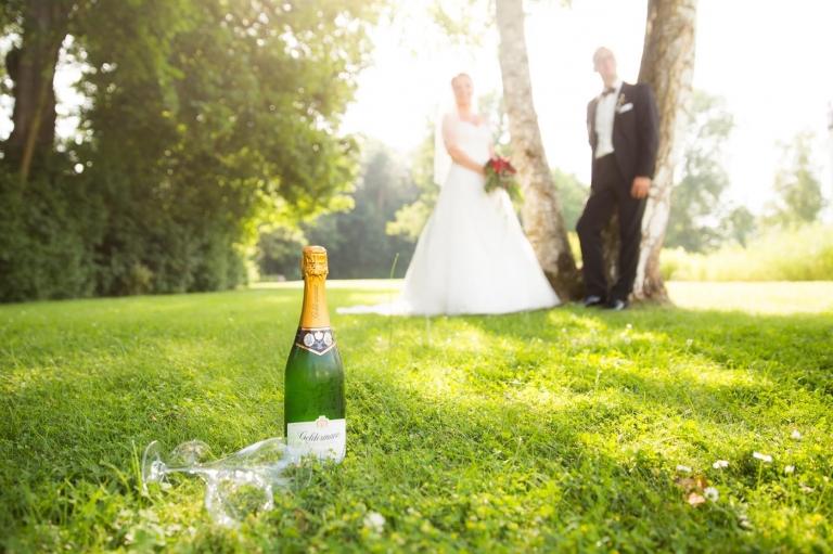 Hochzeitspaar mit Champagner an Baum gelehnt in Sonne Fotografie Gegenlicht München Allershausen Schloss Hohenkammer Hochzeit