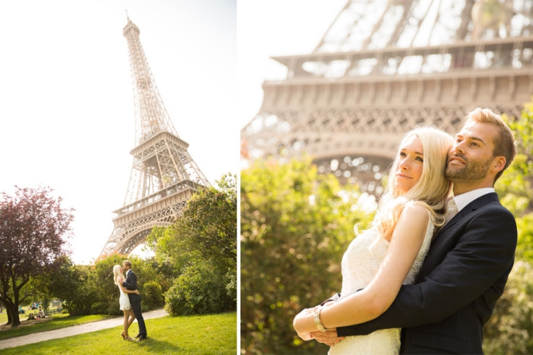 Engagement-Shooting in Paris am Eiffelturm als deutscher Fotograf aus München für verliebte Paare tolle Portraitfotos